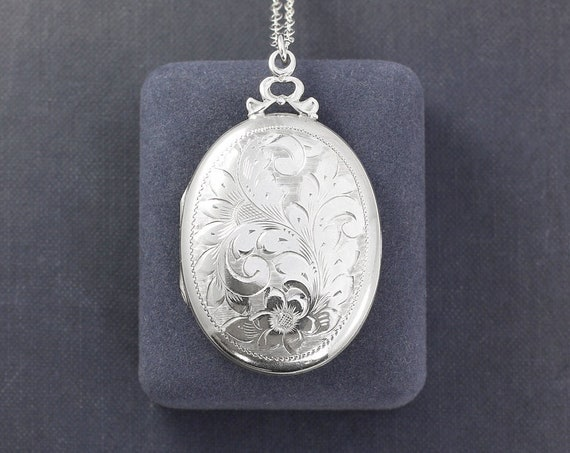 Large Oval Sterling Silver Locket Necklace, Vintage Circa 1940's Picture Locket Gift for Mom - Crowned in a Bow