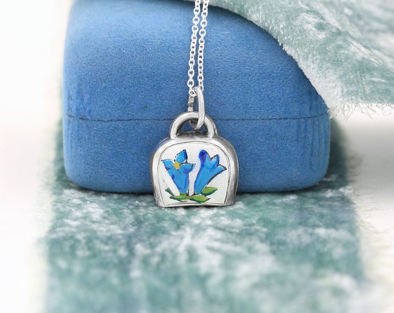 Vintage Sterling Silver Enamel Bluebells Flower Charm Necklace, Small Bell Pendant - Humility & Gratitude