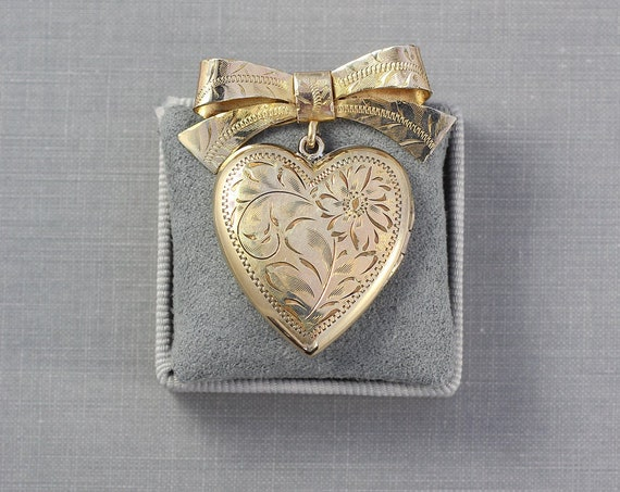 Vintage Birks Gold Filled Locket Brooch or Necklace, Large Heart 1940's Lady's Bow Pin - Golden Hearted