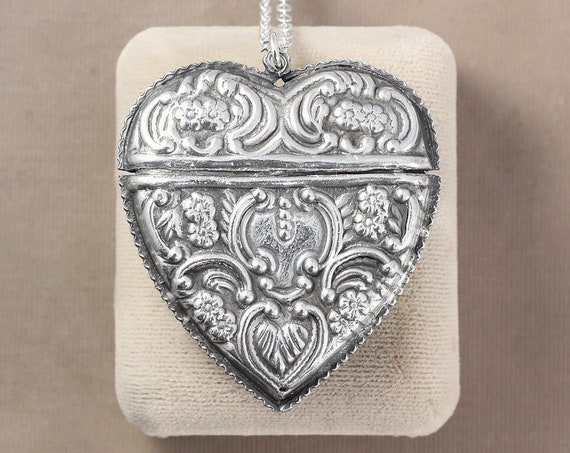 Large Vintage Sterling Silver Heart Vesta Case Necklace, Fancy Embossed Lidded Locket - Keepsake Container