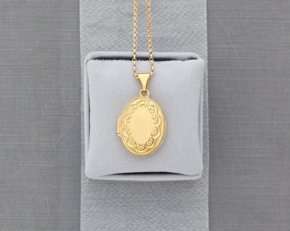 Tiny Oval 14 Karat Gold Locket Necklace, Solid 14K Yellow Gold Minimalist Photo Pendant with Embossed Border - Drip of Gold