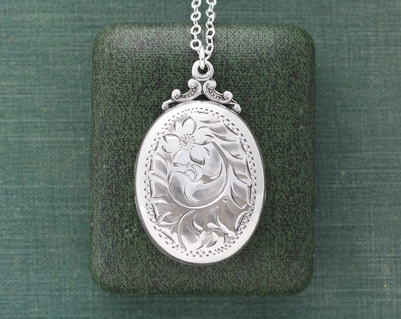 Birks Sterling Silver Locket Necklace, Vintage Swirling Vine Flower Engraved Oval Photo Pendant - Nostalgic