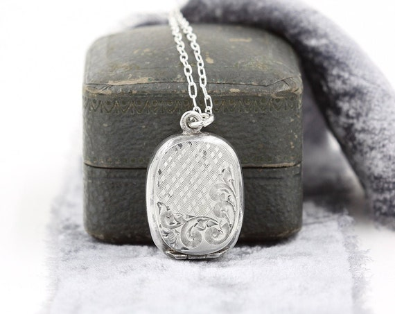 Antique Sterling Silver Locket Necklace, Early 1900's Memento Case - Swirls and Pattern