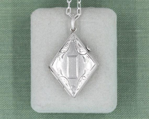 Art Deco Sterling Locket Necklace, Circa 1930's Silver Geometric Photo Pendant - Diamond Deco