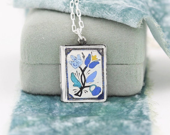 Antique Russian Silver Tulip Enamel Locket Pendant Necklace, Rare Colorful Floral Design - Garden Beauty
