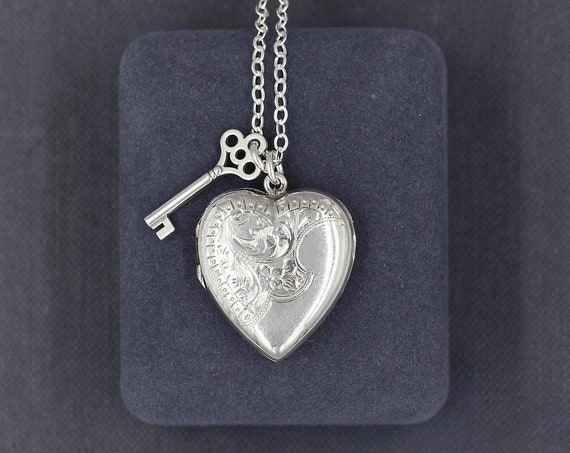 Antique Sterling Silver Locket Necklace, Symbol of Love Picture Pendant - Key to My Heart
