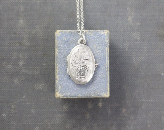 Small Oval Sterling Silver Locket Necklace, Vintage Rose Engraved Photo Pendant