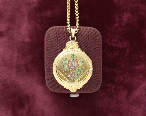 Floral Engraved Gold Filled Locket Necklace, Vintage Hayward Picture Pendant on Original Chain - Love in Bloom