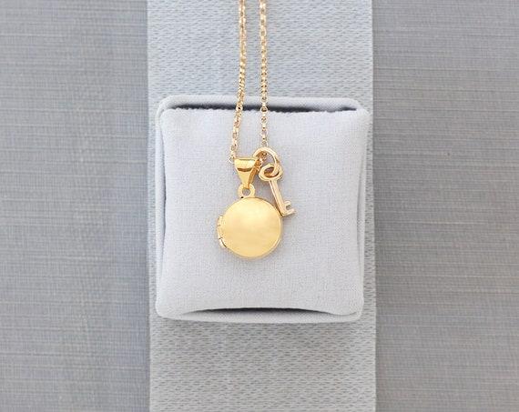 Tiny 14K Gold Locket Necklace, Solid 14 Karat Small Round Photo Pendant and Key - Love Token
