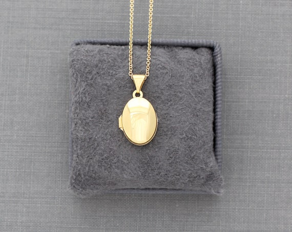Solid 14 Karat Gold Locket Necklace, 14K Small Oval Picture Locket Pendant - Tiny Golden Jewel