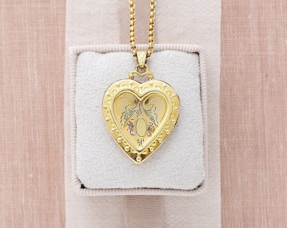 Gold Heart Locket Necklace, Vintage 12K Gold Filled Hayward Vintage Locket on Original Chain - Young at Heart