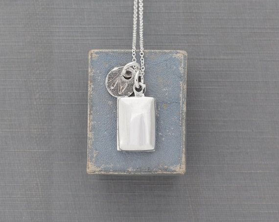 Plain Rectangle Sterling Silver Locket Necklace, Custom Hand Stamped Initial Charm - Tiny Book