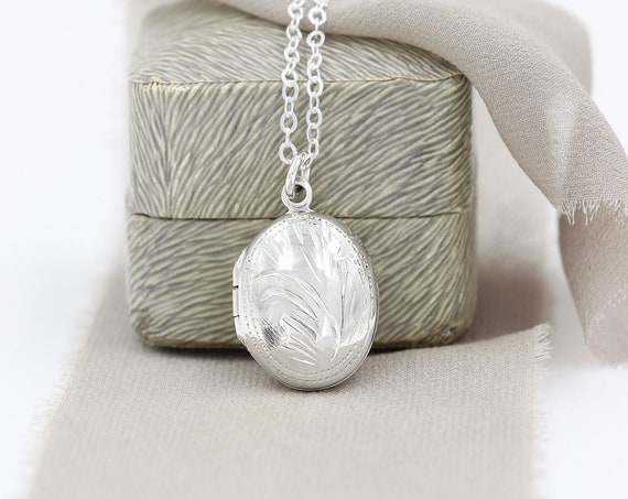 Modern Long Chain Sterling Silver Locket Necklace,  Simple Timeless Gift for Her - Drop of Silver