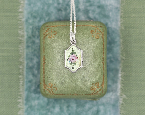 Dainty Antique Sterling Silver Guilloche Enamel Locket Necklace, Rare Hexagonal Delicate Chain Necklace - Victorian Roses