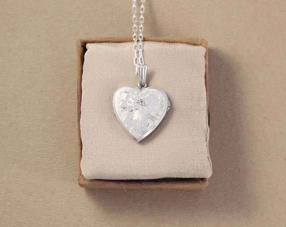 Sterling Silver Heart Locket Necklace, Vintage Floral Engraved Pendant - Glittering Flower