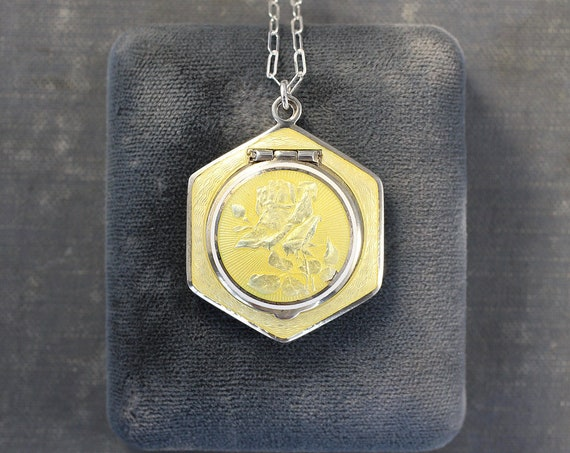 Antique Light Yellow Enamel Locket Necklace, Small Rare Compact Pendant on Sterling Silver Chain - Yellow Rose