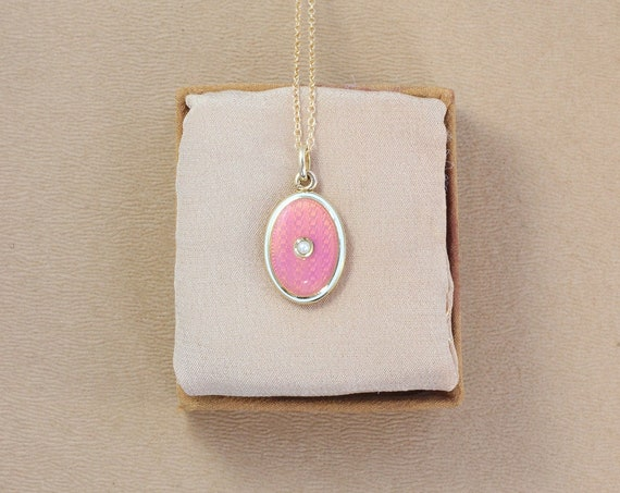 Tiny Antique Pink Enamel 14K Gold Locket Necklace, Solid 14 Karat Yellow Gold Oval Photo Pendant and Chain - Rose Colored Guilloche