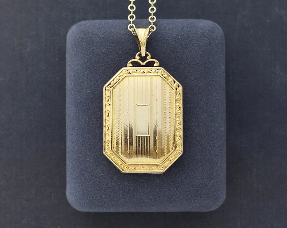 Vintage Gold Filled Locket Necklace, Book Shaped Picture Locket with Fancy Top - Elaborate Aesthetic
