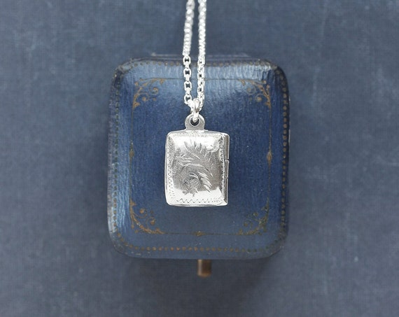 Sterling Silver Book Locket Necklace, Small Rectangle Photo Pendant - My Story