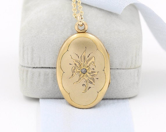 Antique Gold Filled Locket Necklace, Large Oval Diamond Set Photo Pendant - Sparkling Flower