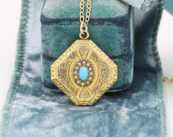 Antique Gold Filled Locket Necklace, Turquoise and Seed Pearl Unique Photo Pendant - Diamond Drop