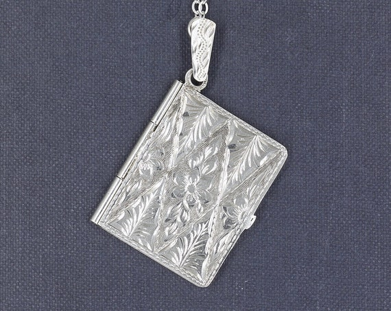 Sterling Silver Book Locket Necklace, Vintage 1940's Photo Pendant with Filigree Chain - Secret Garden