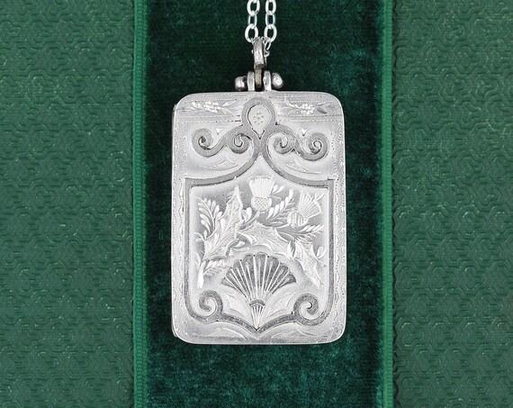 Antique 1882 Sterling Silver Locket Necklace, UK Hallmarked Photo Book Pendant - Scottish Thistle