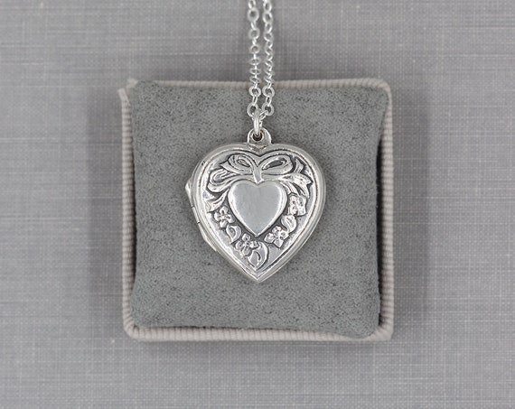 Silver Heart Locket Necklace, Vintage Sterling Repousse Photo Pendant - Romantic at Heart