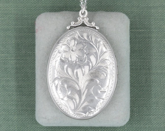 Large Oval Sterling Silver Locket Necklace, Vintage Birks Double Photo Pendant - A Piece to Love