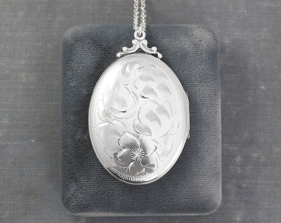 Large Oval Sterling Silver Locket Necklace, Vintage Photo Pendant Perfect Mother's Day Gift - Family Heirloom