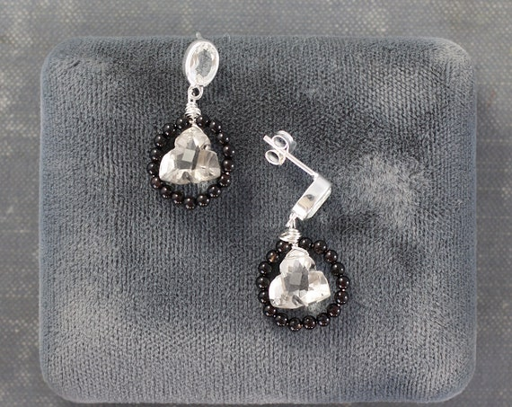 White Topaz Studs with Gemstone Dangle Earrings, Sterling Silver Black Onyx Circles & Trillion Briolettes Victorian Style Drops - Elegance