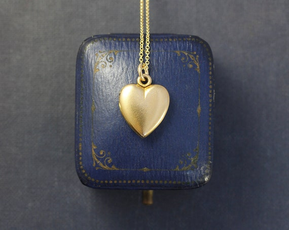 Antique Gold Filled Heart Locket Necklace, Tiny W&H Co Photo Pendant - There's a Heart in Every Locket