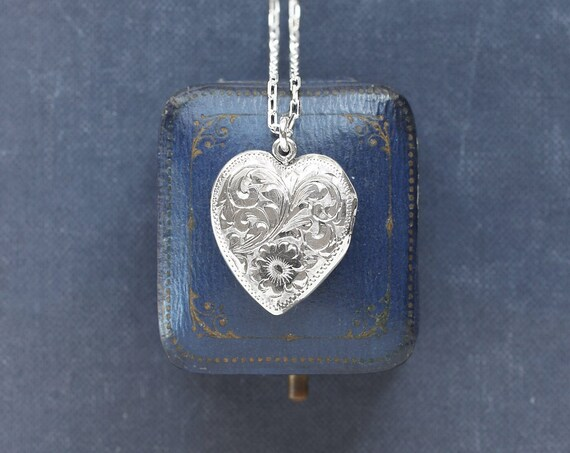 Vintage Sterling Silver Heart Locket Necklace, 1940's Birks Hand Chased Picture Pendant - Sweetheart