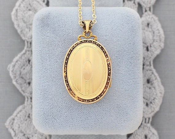 Gold Filled Oval Locket Necklace, Art Deco Vintage Photo Pendant with Filigree Top Detail and Original Bail - Pinstripes