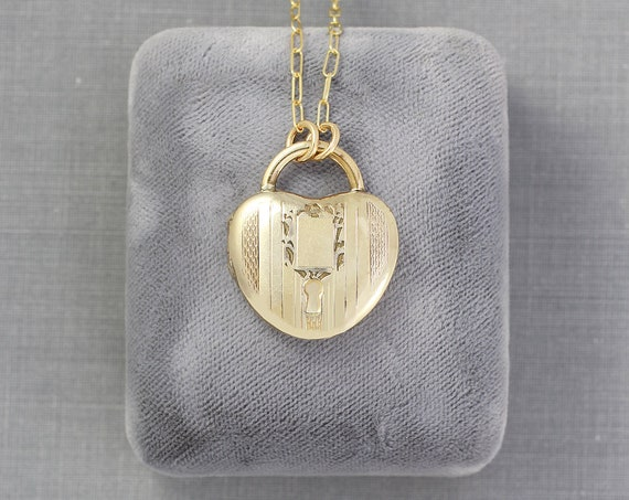 Gold Filled Padlock Heart Locket Necklace, Rare Vintage Photo Pendant - Lock of Love