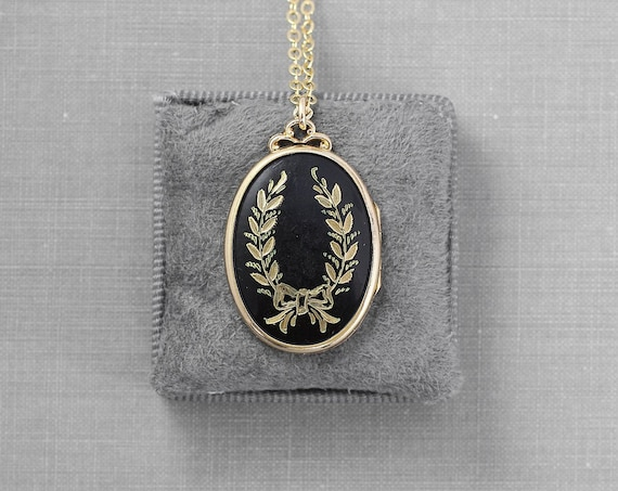 Vintage Gold Filled Locket Necklace, Black Enamel Oval Picture Pendant - Laurel Wreath