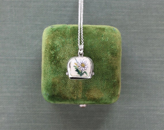 Vintage Sterling Silver Enamel Edelweiss Charm Necklace, Small Bell Pendant - Bloom and Grow Forever