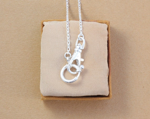 Sterling Silver Guard Chain Necklace, Special Interlocking Clasps for Interchangeable Charms and Pendants - Personalize