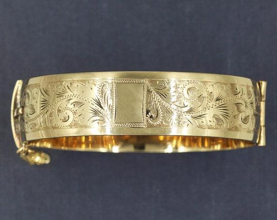 Vintage 9ct Metal Core Gold Bangle Bracelet, Swirl Engraved - Elegance