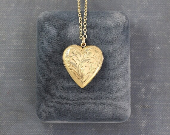 Gold Filled Heart Locket Necklace, Vintage Flower Engraved Picture Locket Pendant - Floral Flutter
