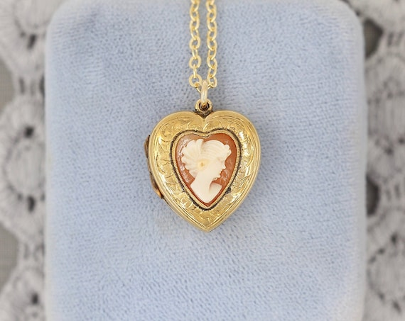 Antique Gold Heart Cameo Locket Necklace, 9ct Bk & Ft Carved Shell Raised Heart Cameo Pendant - My Lady