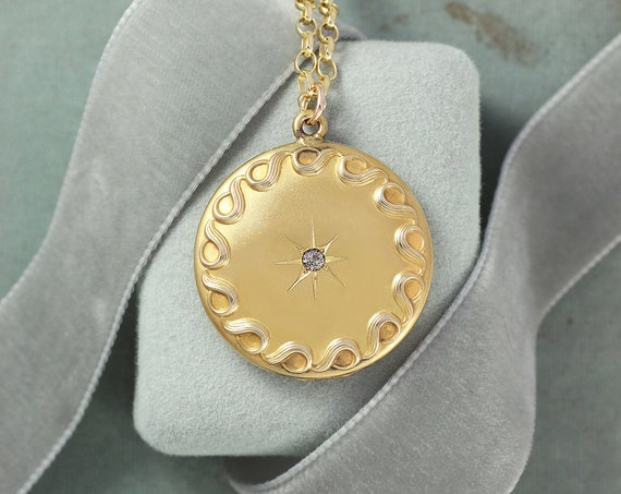 Antique Gold Filled Locket Necklace, Round Diamond Star and Bordering Waves W&H Locket - Brilliant Jewel