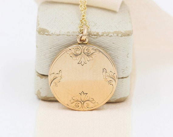 Antique Gold Locket Necklace, Round W&H Co Photo Pendant - Cherished for Life