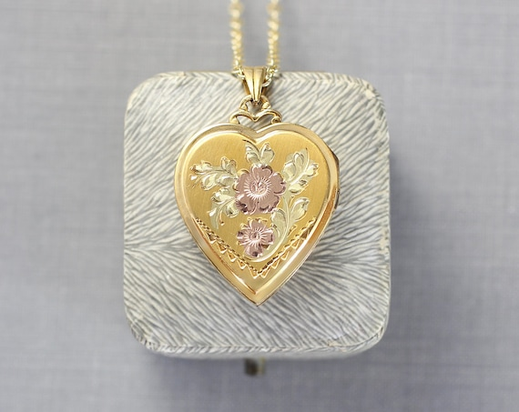 Gold Filled Heart Locket Necklace, Hayward Vintage Photo Pendant with Rose Engraved Flowers - Enchanted Rose
