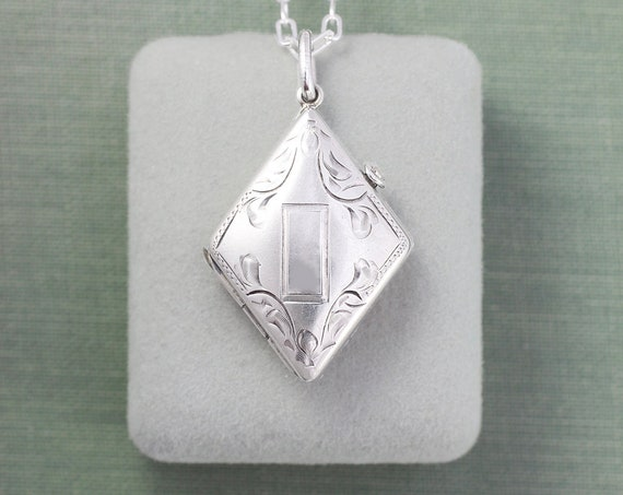 Art Deco Sterling Locket Necklace, Circa 1930's Silver Geometric Photo Pendant - Diamond Deco