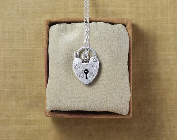 Small Sterling Silver Heart Padlock Charm Necklace, Vintage Key Hole Beautifully Engraved Love Pendant - Beauty