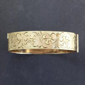 Antique 9ct Gold Engraved Bangle Edwardian Rolled Gold Bracelet Gold Filled Hinged Bracelet. Art Nouveau Engraved Ferns Bangle