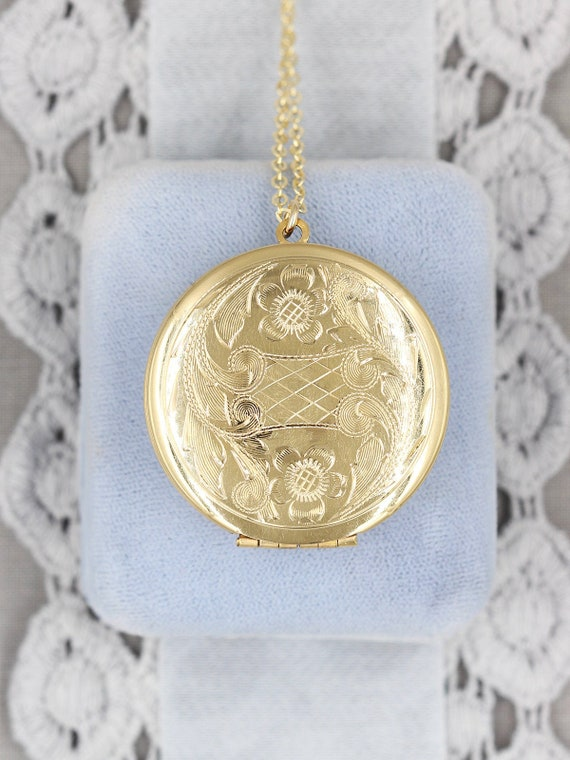 Gold Filled Locket Necklace, Round Floral Engraved Pendant - Twice as Nice Flowers