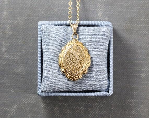 Rare Small Gold Filled Locket Necklace, Antique Hayward Elaborately Engraved Photo Pendant with Scalloped Edges - Sunflower
