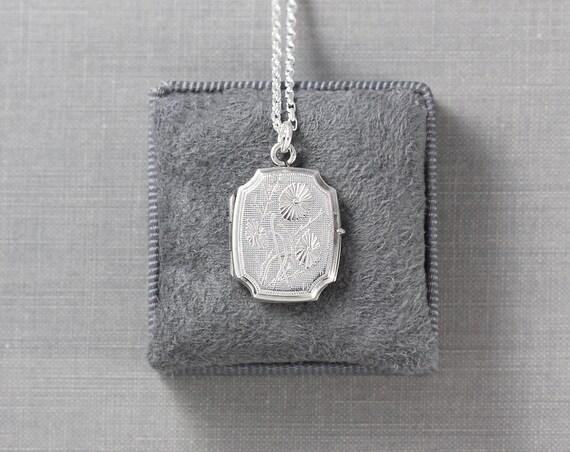 Daisy Sterling Silver Locket Necklace, Rectangular Octagonal Bevelled Edged Photo Pendant - Friendliest Flower